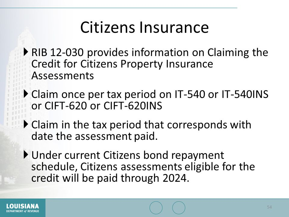 Citizens Insurance RIB 12-030 provides information on Claiming the Credit for Citizens Property Insurance Assessments.