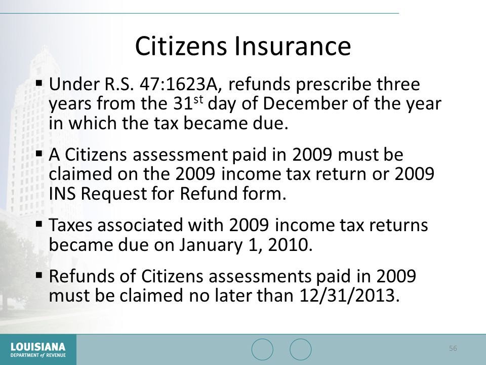 Citizens Insurance Under R.S. 47:1623A, refunds prescribe three years from the 31st day of December of the year in which the tax became due.