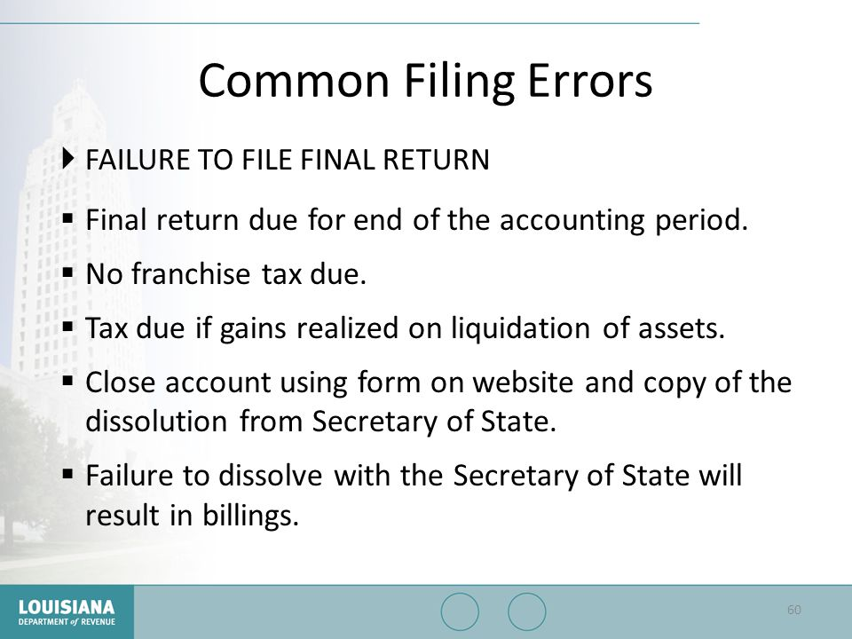 Common Filing Errors FAILURE TO FILE FINAL RETURN. Final return due for end of the accounting period.