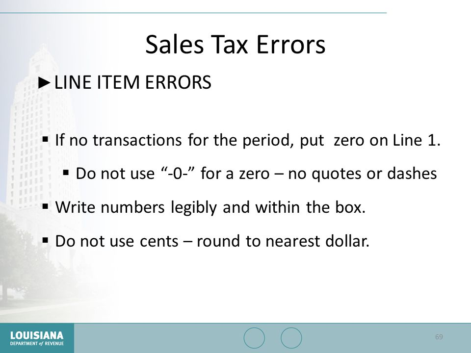 Sales Tax Errors LINE ITEM ERRORS