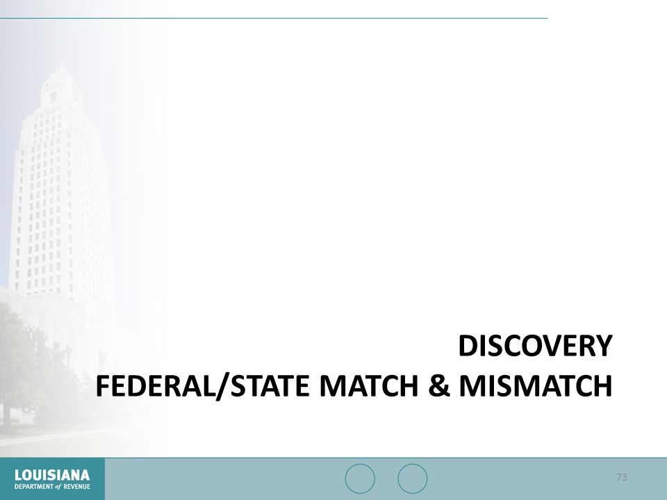 Discovery Federal/State Match & mismatch