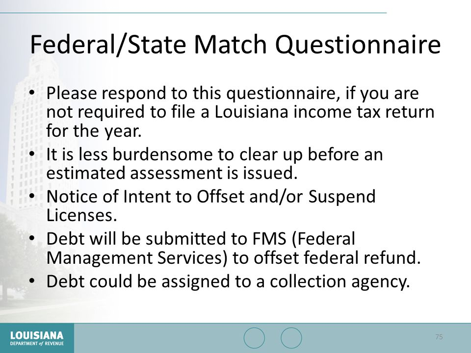 Federal/State Match Questionnaire