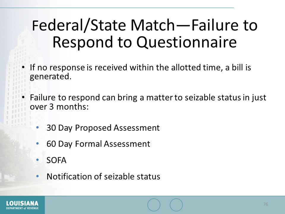 Federal/State Match—Failure to Respond to Questionnaire