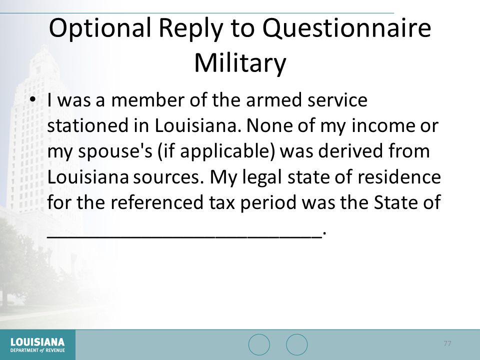 Optional Reply to Questionnaire Military