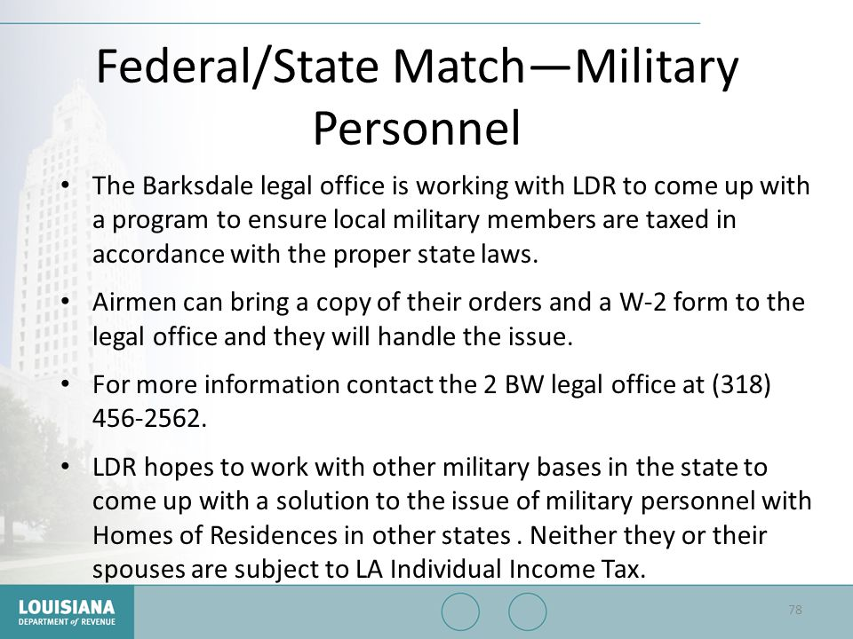 Federal/State Match—Military Personnel
