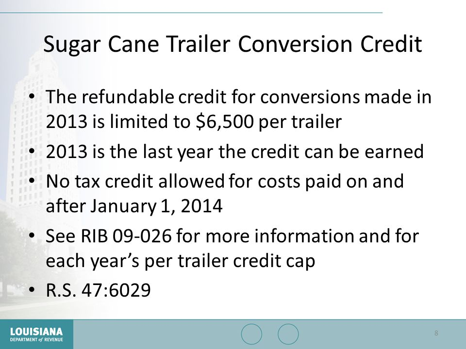 Sugar Cane Trailer Conversion Credit