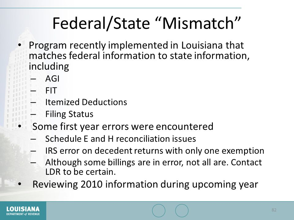 Federal/State Mismatch