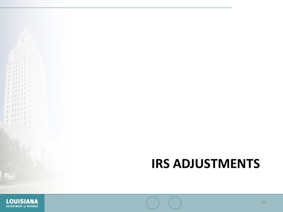 IRS ADJUSTMENTS