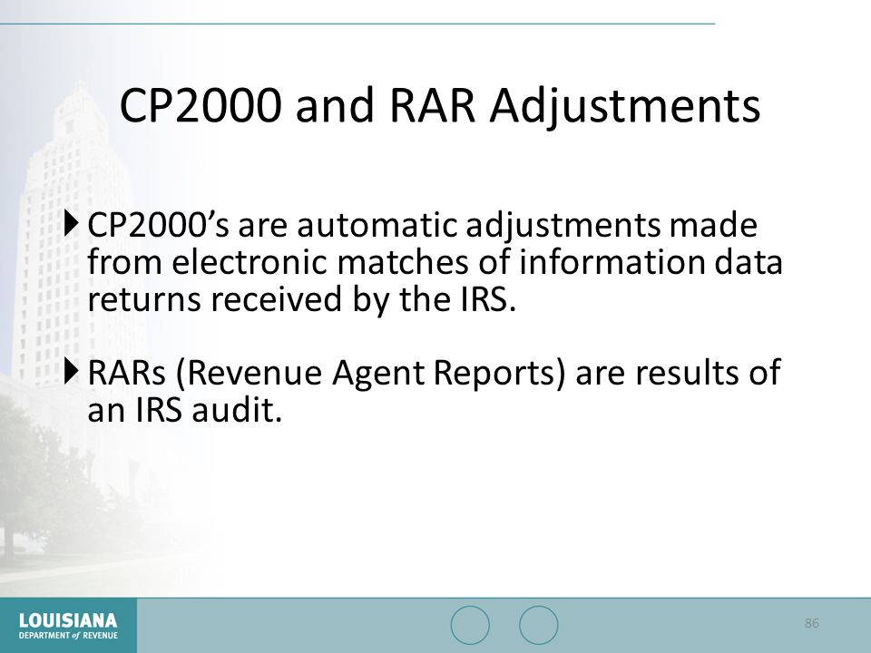 CP2000 and RAR Adjustments CP2000's are automatic adjustments made from electronic matches of information data returns received by the IRS.