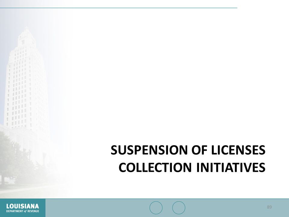 Suspension of Licenses Collection Initiatives
