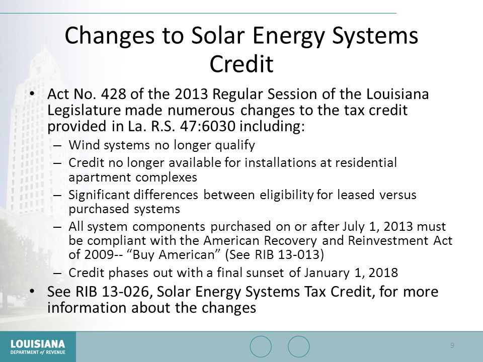Changes to Solar Energy Systems Credit