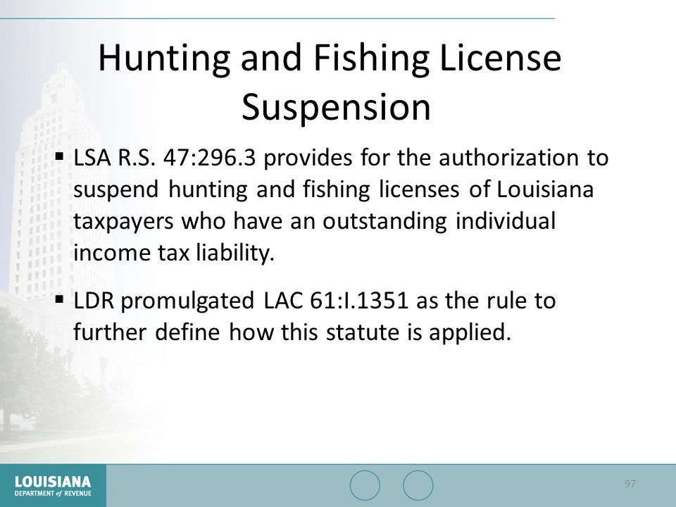 Hunting and Fishing License Suspension