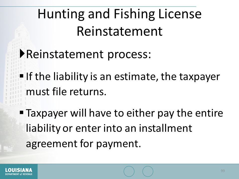 Hunting and Fishing License Reinstatement