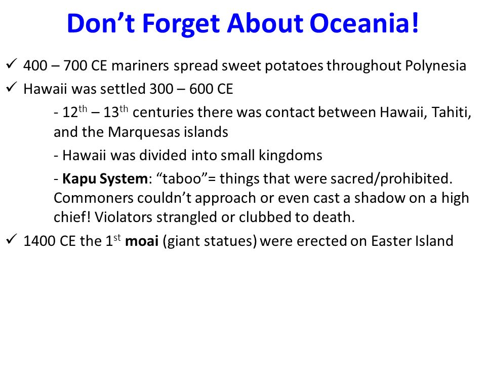 Don't Forget About Oceania!