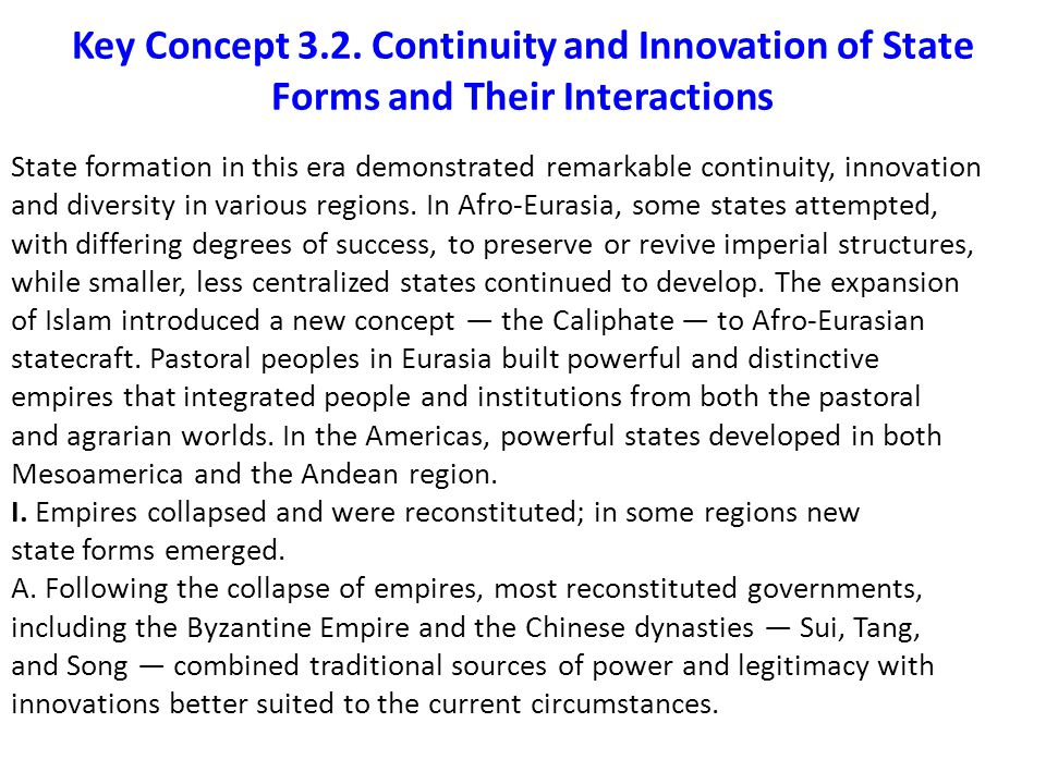 Key Concept 3.2. Continuity and Innovation of State Forms and Their Interactions