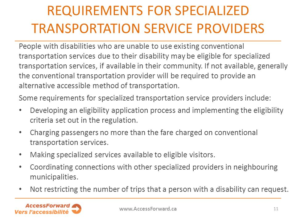 Requirements for specialized transportation service providers