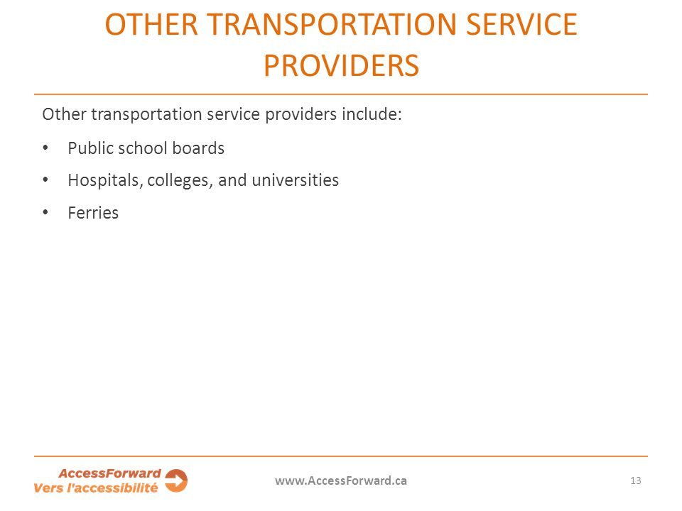 Other transportation service providers