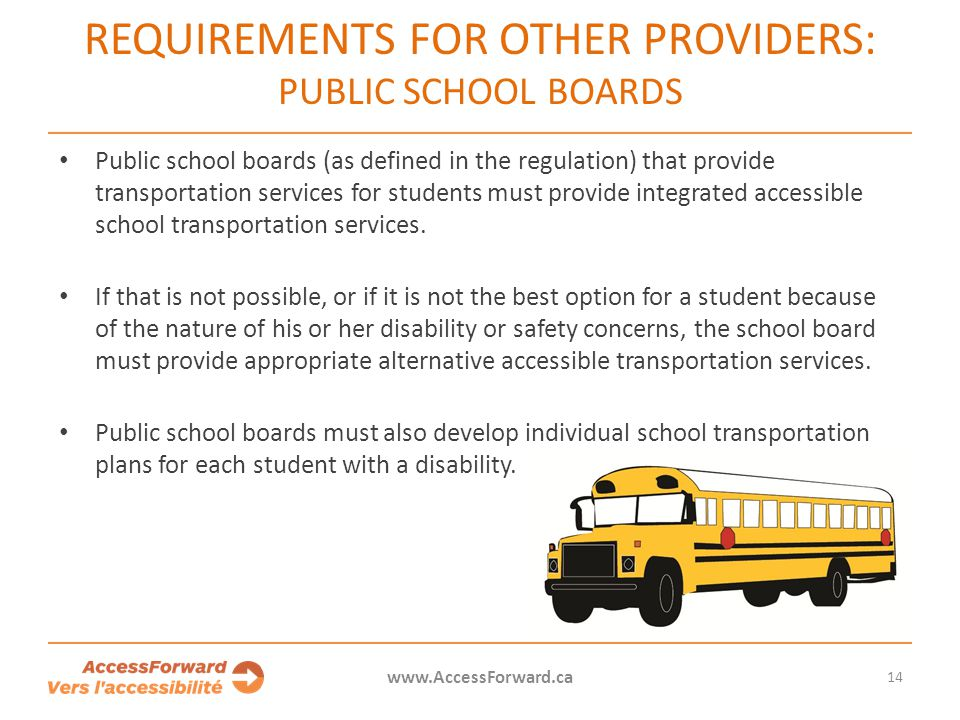 Requirements for other providers: Public school boards