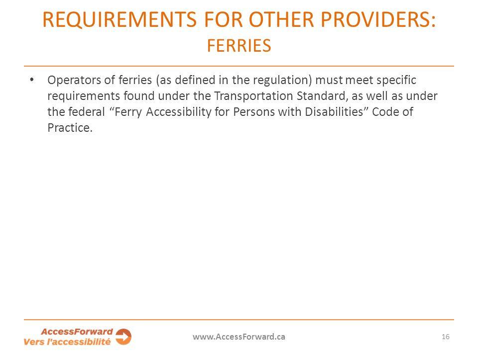 Requirements for other providers: Ferries