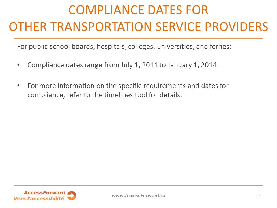 Compliance dates for other transportation service providers
