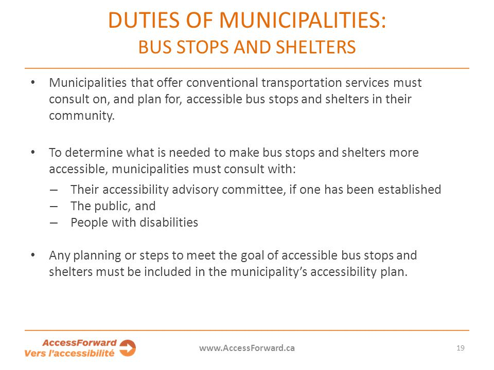DUTIES OF MUNICIPALITIES: BUS STOPS AND SHELTERS