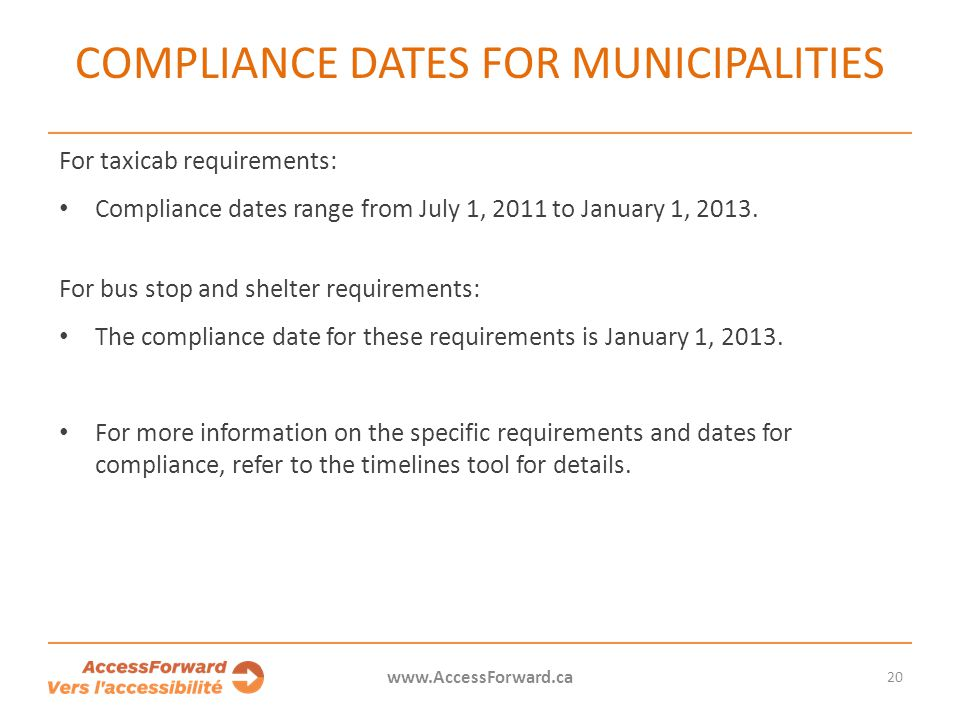 Compliance dates for municipalities