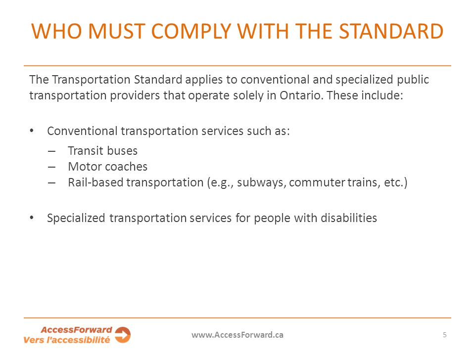 Who must comply with the standard