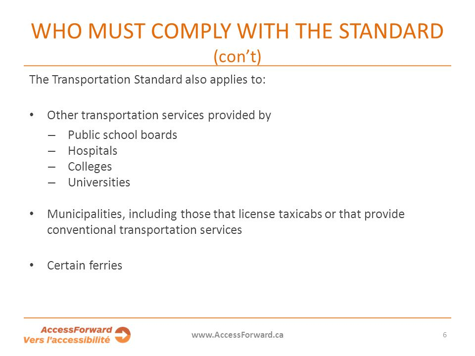 Who must comply with the standard (con't)