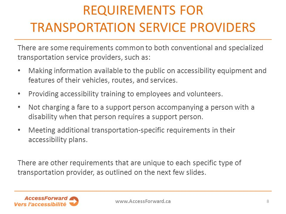 Requirements for transportation service providers