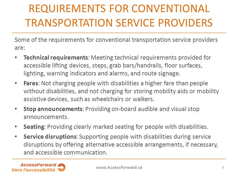 Requirements for conventional transportation service providers