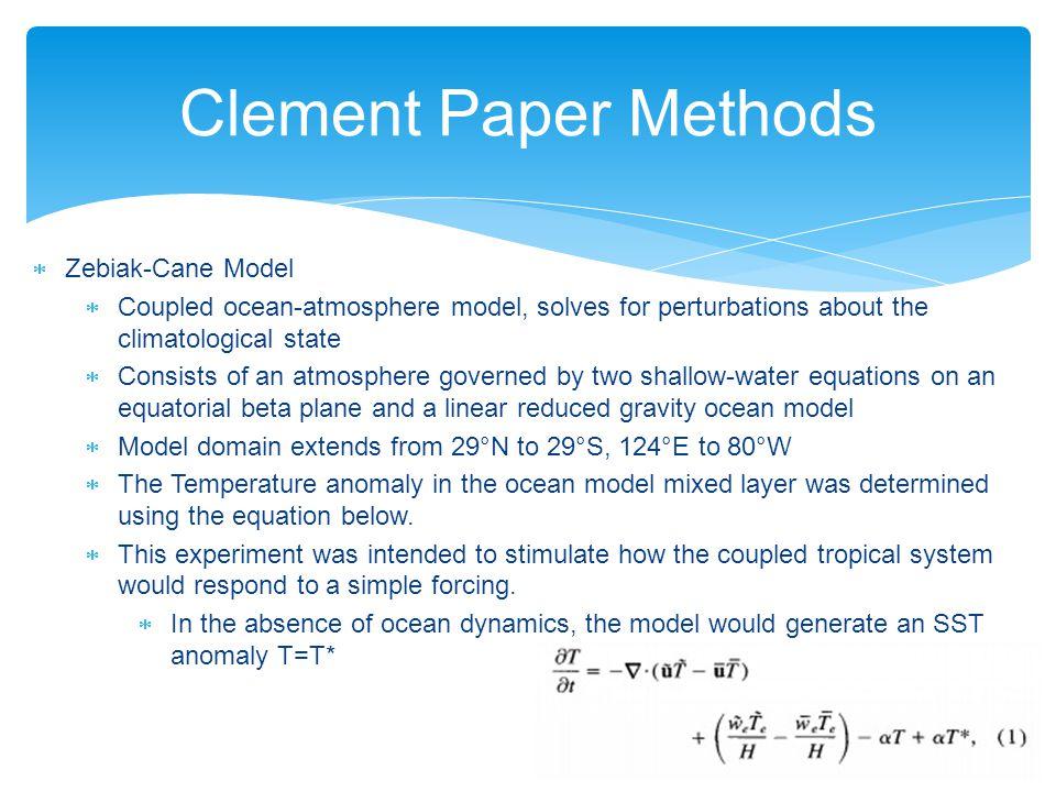 Clement Paper Methods Zebiak-Cane Model