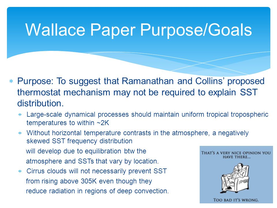 Wallace Paper Purpose/Goals