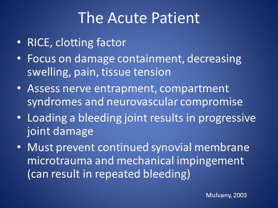 The Acute Patient RICE, clotting factor