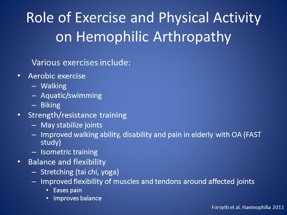 Role of Exercise and Physical Activity on Hemophilic Arthropathy