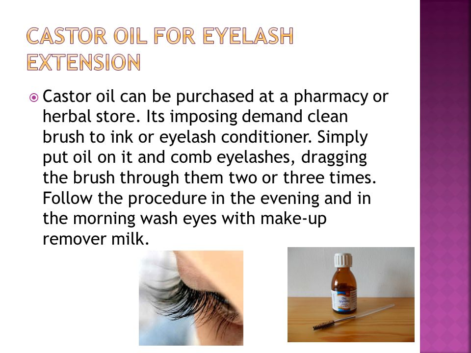 Castor oil for eyelash extension