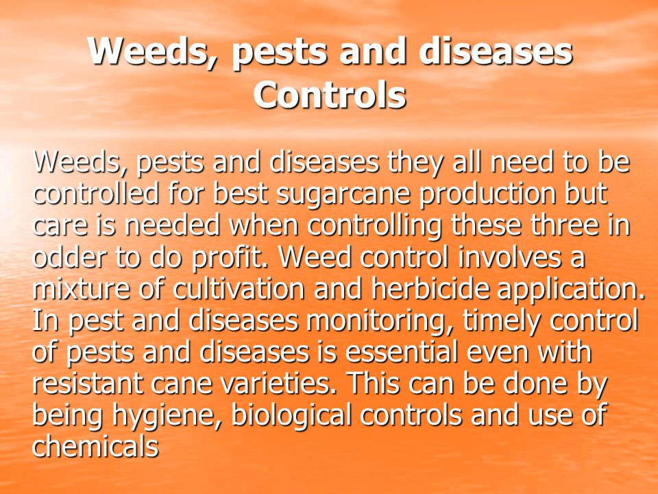 Weeds, pests and diseases Controls