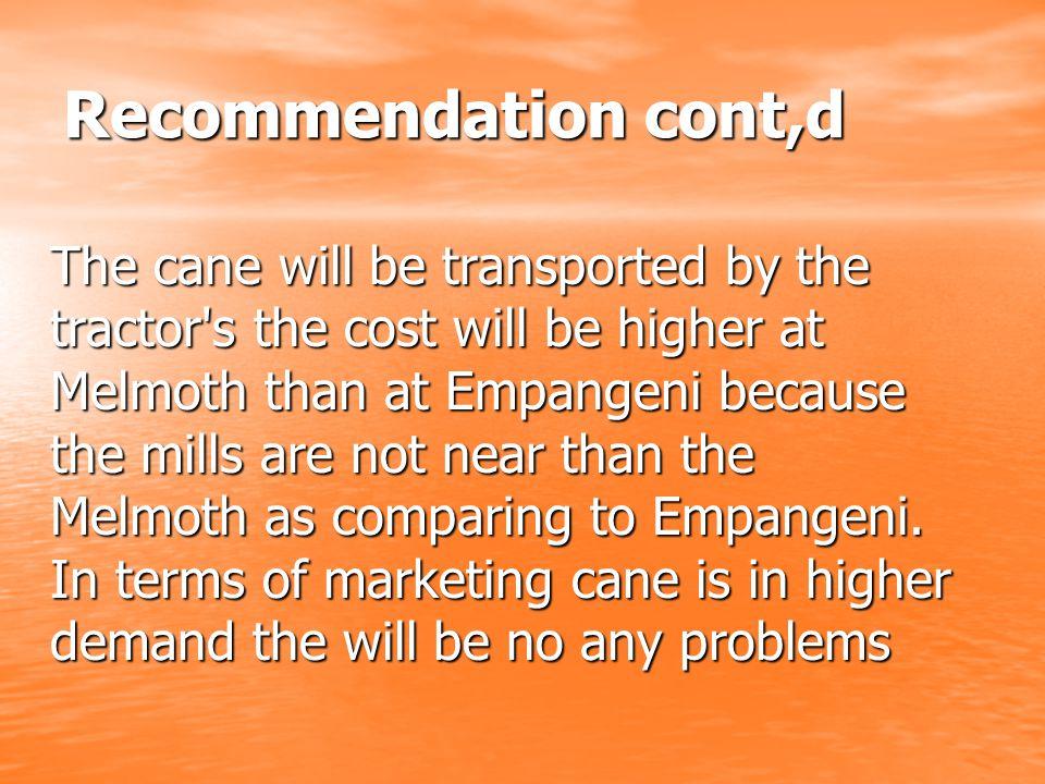 Recommendation cont,d