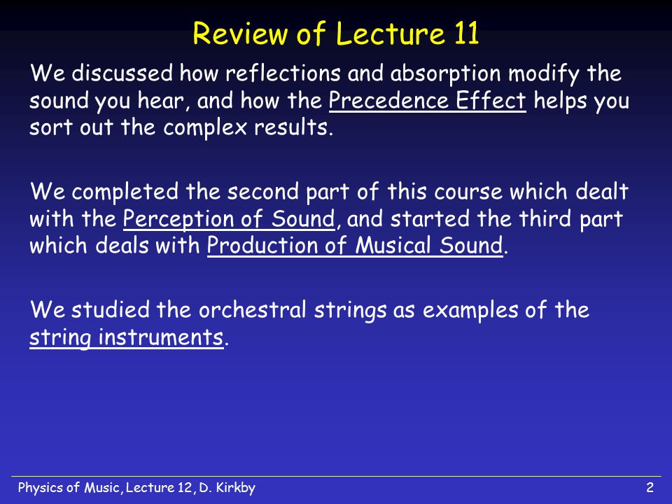 Review of Lecture 11