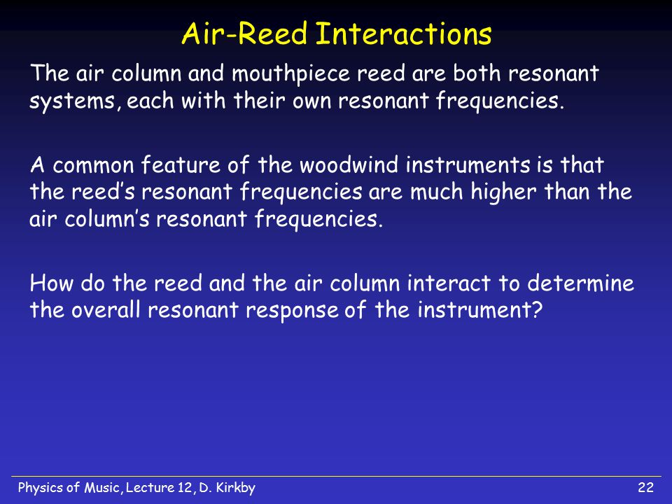 Air-Reed Interactions