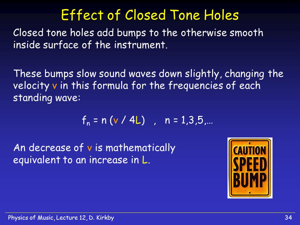 Effect of Closed Tone Holes