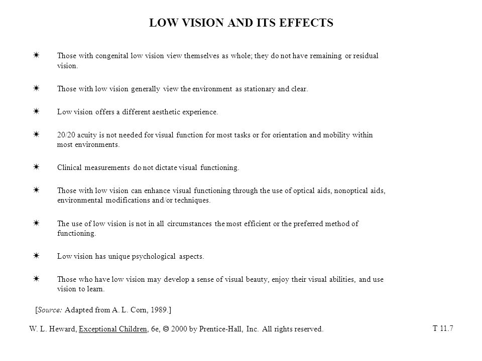 LOW VISION AND ITS EFFECTS
