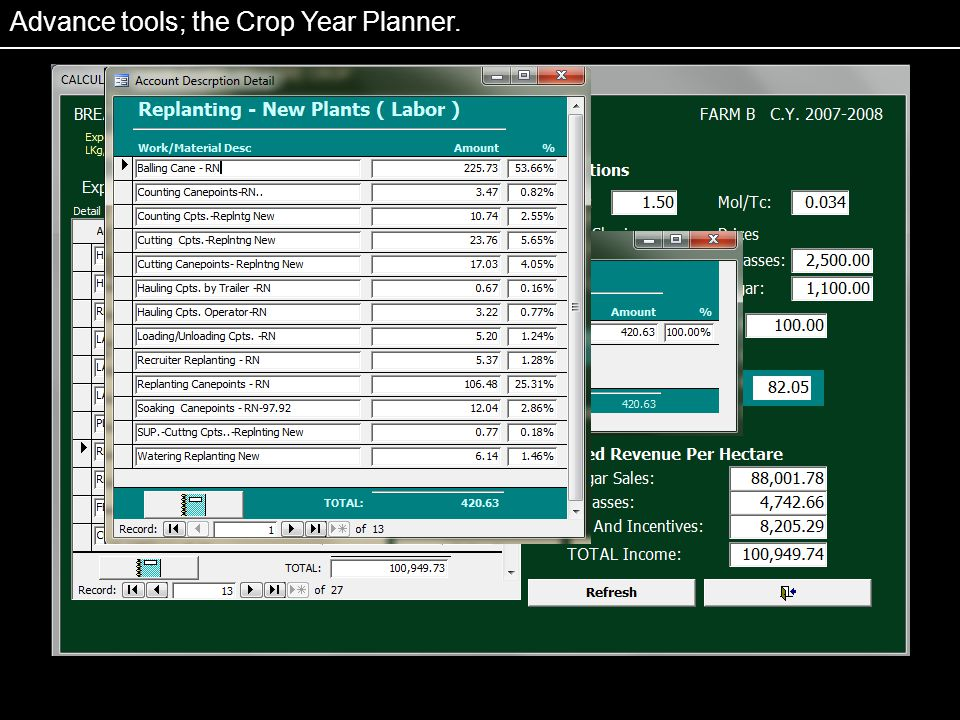 Advance tools; the Crop Year Planner.