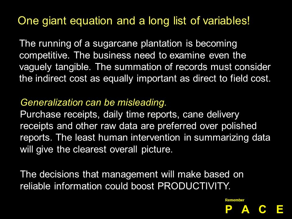 One giant equation and a long list of variables!