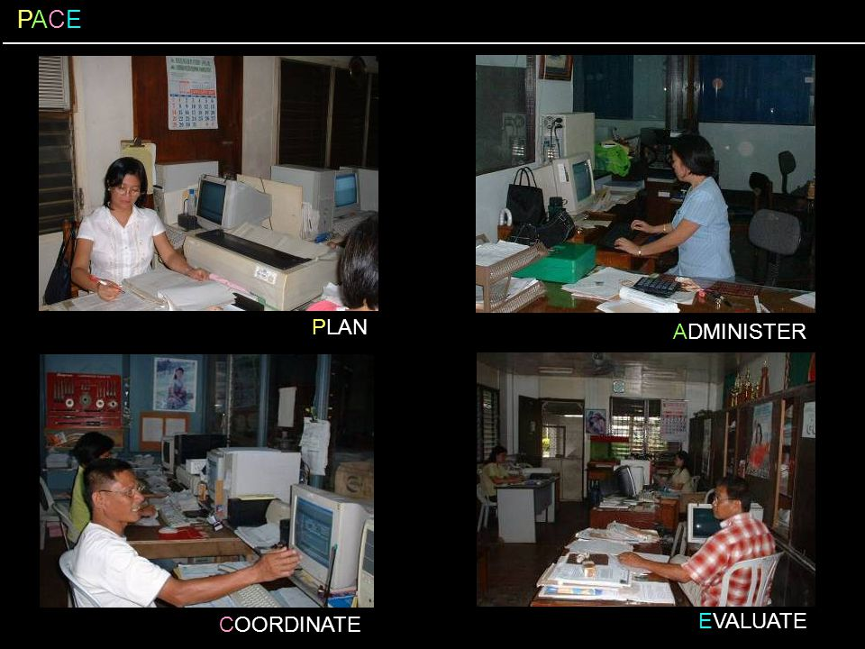 PACE PACE PLAN ADMINISTER EVALUATE COORDINATE pause-click