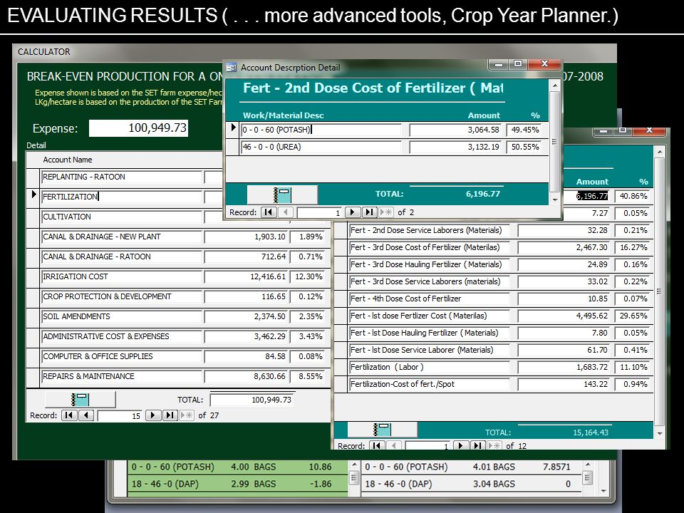 EVALUATING RESULTS ( . . . more advanced tools, Crop Year Planner.)