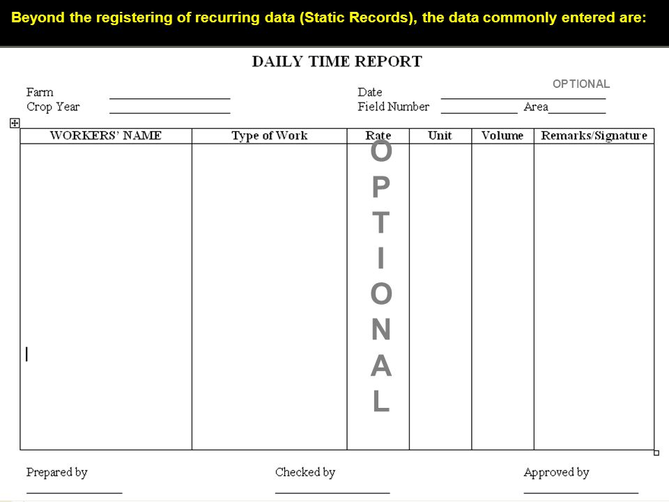 Beyond the registering of recurring data (Static Records), the data commonly entered are:
