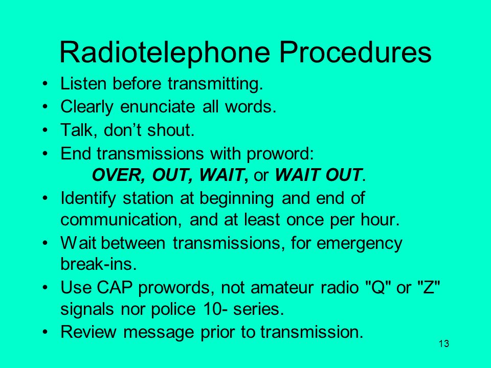 Radiotelephone Procedures