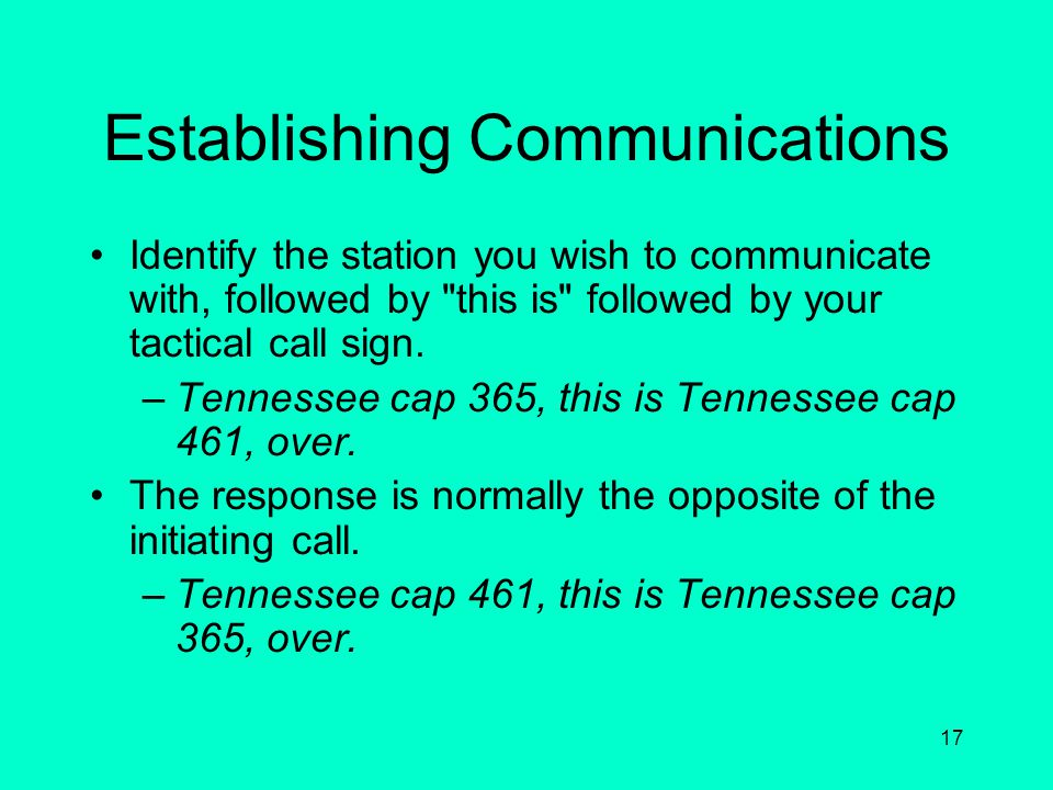 Establishing Communications