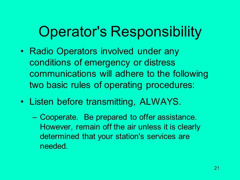 Operator s Responsibility