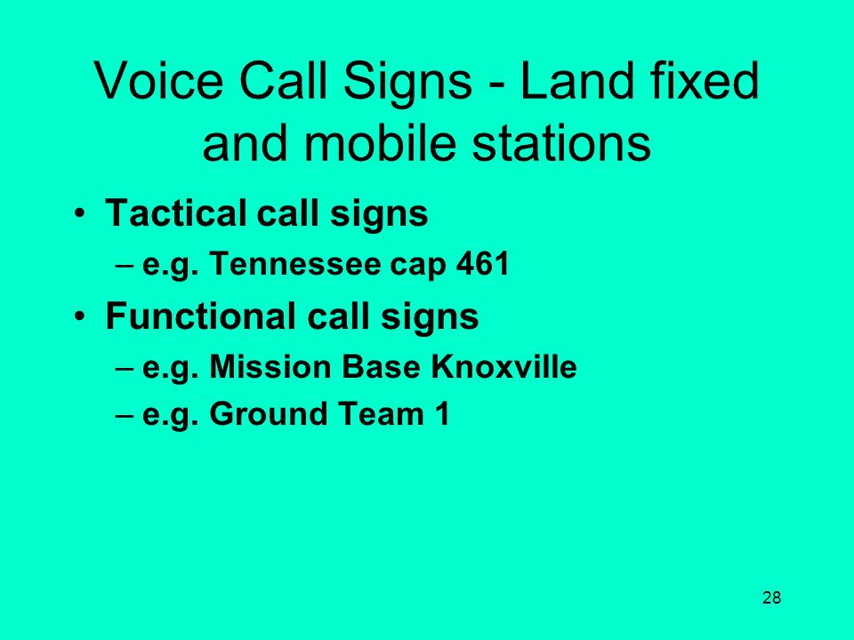 Voice Call Signs - Land fixed and mobile stations